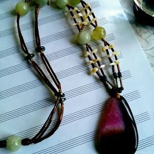 Jewelry - Large Agate Necklace, Handmade Gemstone Necklace